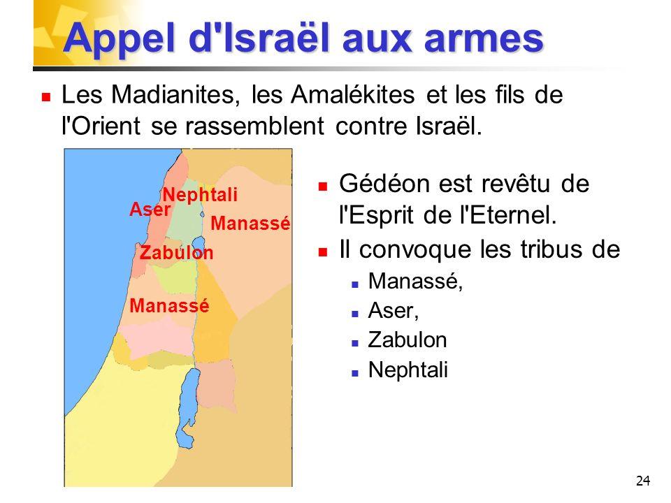 24 Appel d'Israël aux armes Gédéon est revêtu de l'Esprit de l'Eternel. Il convoque les tribus de Manassé, Aser, Zabulon Nephtali Manassé Aser Zabulon