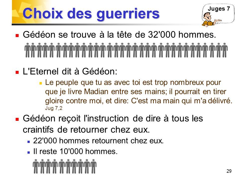 29 Choix des guerriers Gédéon se trouve à la tête de 32'000 hommes. L'Eternel dit à Gédéon: Le peuple que tu as avec toi est trop nombreux pour que je