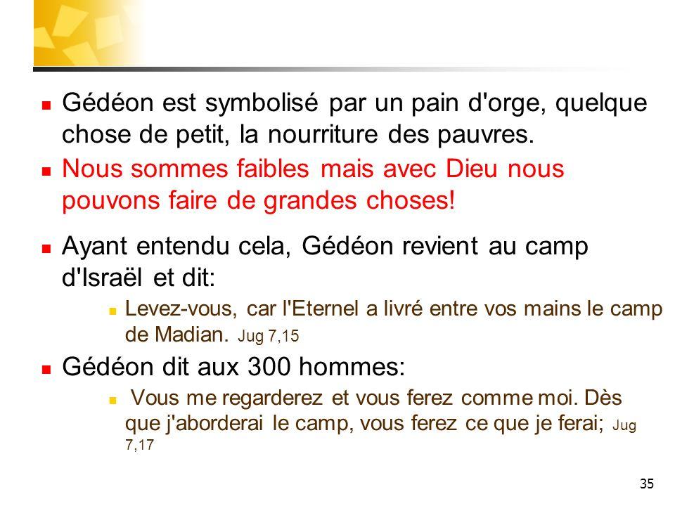 35 Gédéon est symbolisé par un pain d'orge, quelque chose de petit, la nourriture des pauvres. Nous sommes faibles mais avec Dieu nous pouvons faire d