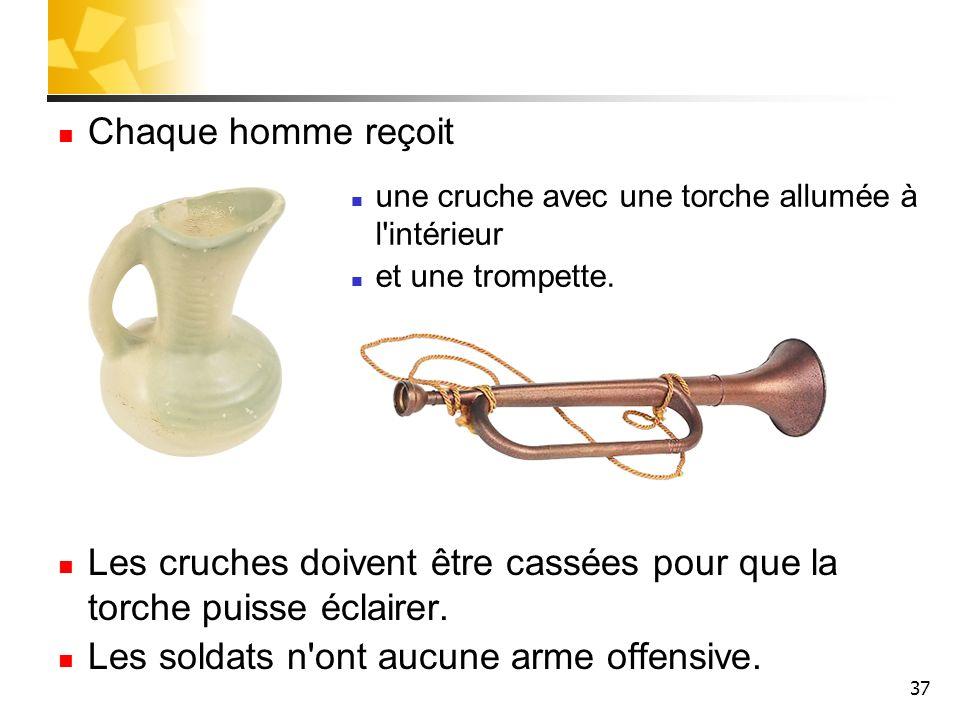 37 Chaque homme reçoit Les cruches doivent être cassées pour que la torche puisse éclairer. Les soldats n'ont aucune arme offensive. une cruche avec u