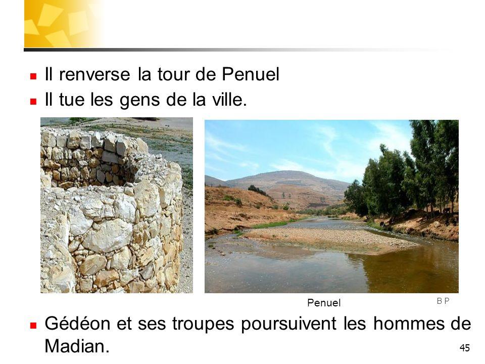 45 Il renverse la tour de Penuel Il tue les gens de la ville. Gédéon et ses troupes poursuivent les hommes de Madian. B P Penuel