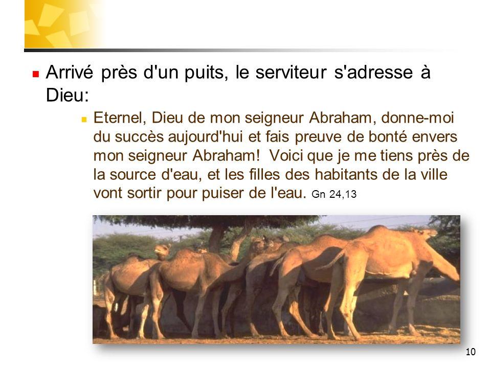Arrivé près d'un puits, le serviteur s'adresse à Dieu: Eternel, Dieu de mon seigneur Abraham, donne-moi du succès aujourd'hui et fais preuve de bonté