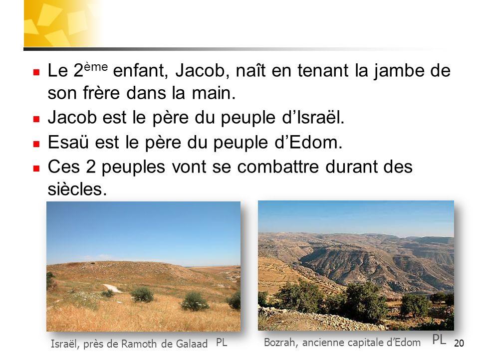 Le 2 ème enfant, Jacob, naît en tenant la jambe de son frère dans la main. Jacob est le père du peuple dIsraël. Esaü est le père du peuple dEdom. Ces