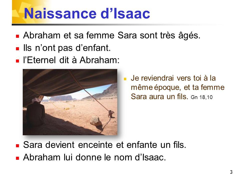 3 Naissance dIsaac Abraham et sa femme Sara sont très âgés. Ils nont pas denfant. lEternel dit à Abraham: Je reviendrai vers toi à la même époque, et