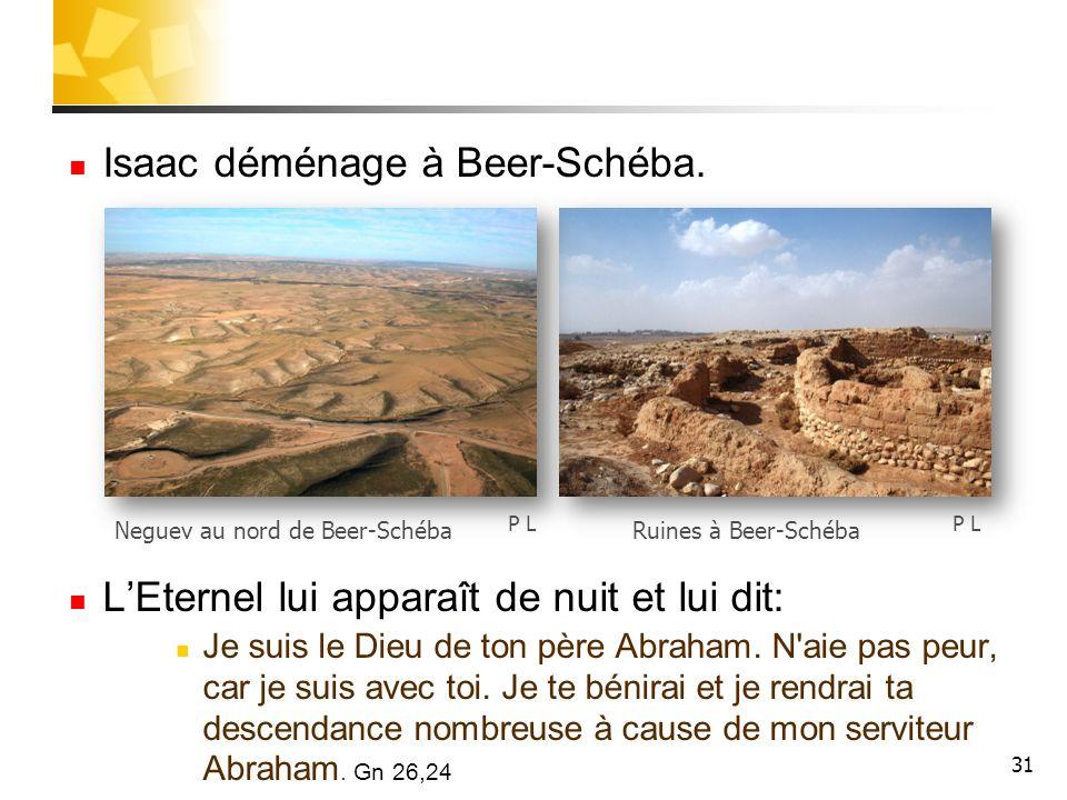 Isaac déménage à Beer-Schéba. LEternel lui apparaît de nuit et lui dit: Je suis le Dieu de ton père Abraham. N'aie pas peur, car je suis avec toi. Je