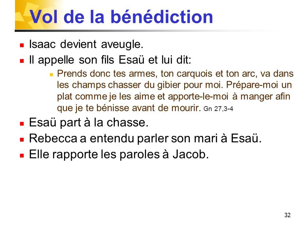Vol de la bénédiction Isaac devient aveugle. Il appelle son fils Esaü et lui dit: Prends donc tes armes, ton carquois et ton arc, va dans les champs c
