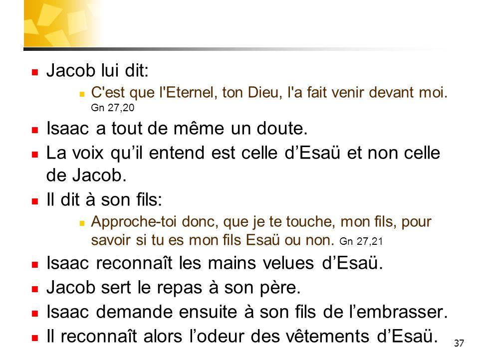 Jacob lui dit: C'est que l'Eternel, ton Dieu, l'a fait venir devant moi. Gn 27,20 Isaac a tout de même un doute. La voix quil entend est celle dEsaü e