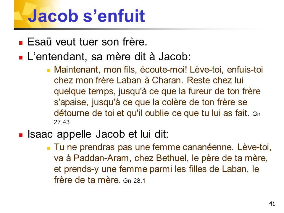 Jacob senfuit Esaü veut tuer son frère. Lentendant, sa mère dit à Jacob: Maintenant, mon fils, écoute-moi! Lève-toi, enfuis-toi chez mon frère Laban à