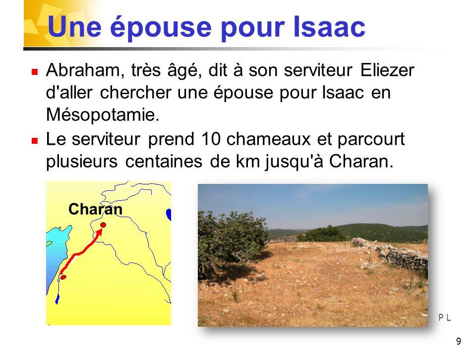 Une épouse pour Isaac Abraham, très âgé, dit à son serviteur Eliezer d'aller chercher une épouse pour Isaac en Mésopotamie. Le serviteur prend 10 cham