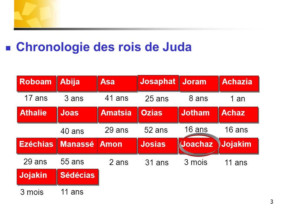3 17 ans 3 ans8 ans 1 an 41 ans 25 ans Chronologie des rois de Juda Roboam Abija Asa Josaphat Joram Achazia 40 ans 16 ans 29 ans52 ans Athalie Joas Am