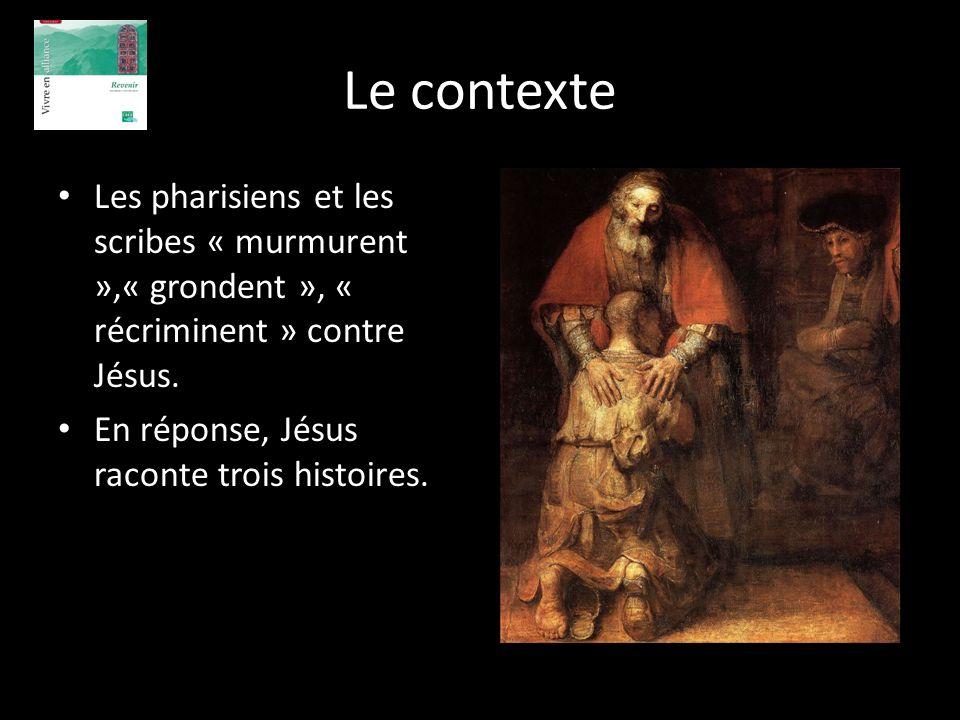 Le contexte Les pharisiens et les scribes « murmurent »,« grondent », « récriminent » contre Jésus. En réponse, Jésus raconte trois histoires.