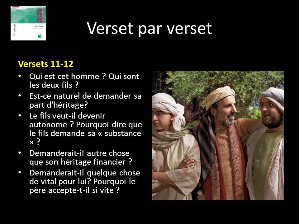 Verset par verset Versets 11-12 Qui est cet homme ? Qui sont les deux fils ? Est-ce naturel de demander sa part d'héritage? Le fils veut-il devenir au