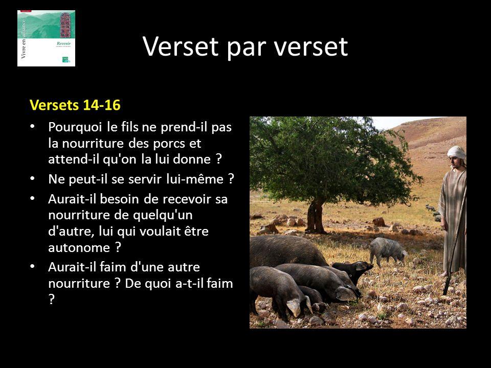Verset par verset Versets 14-16 Pourquoi le fils ne prend-il pas la nourriture des porcs et attend-il qu'on la lui donne ? Ne peut-il se servir lui-mê