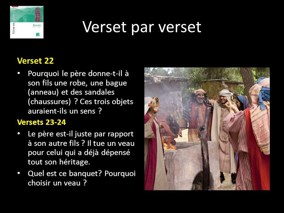 Verset par verset Verset 22 Pourquoi le père donne-t-il à son fils une robe, une bague (anneau) et des sandales (chaussures) ? Ces trois objets auraie