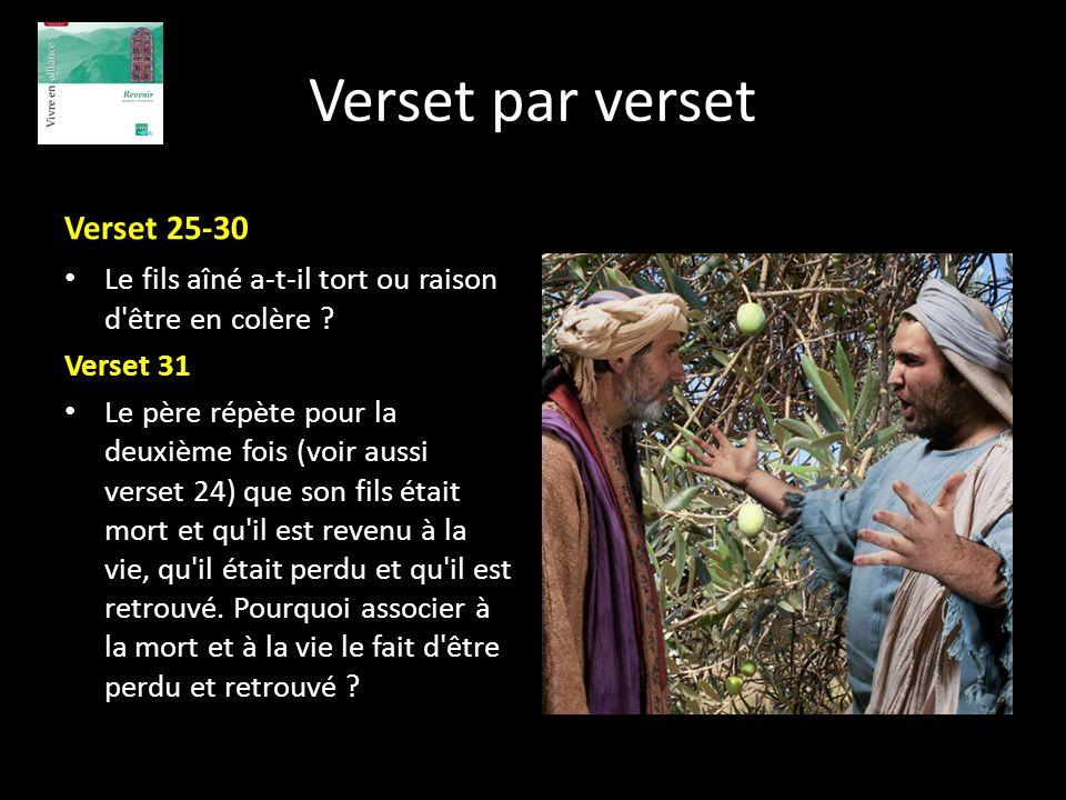 Verset par verset Verset 25-30 Le fils aîné a-t-il tort ou raison d'être en colère ? Verset 31 Le père répète pour la deuxième fois (voir aussi verset