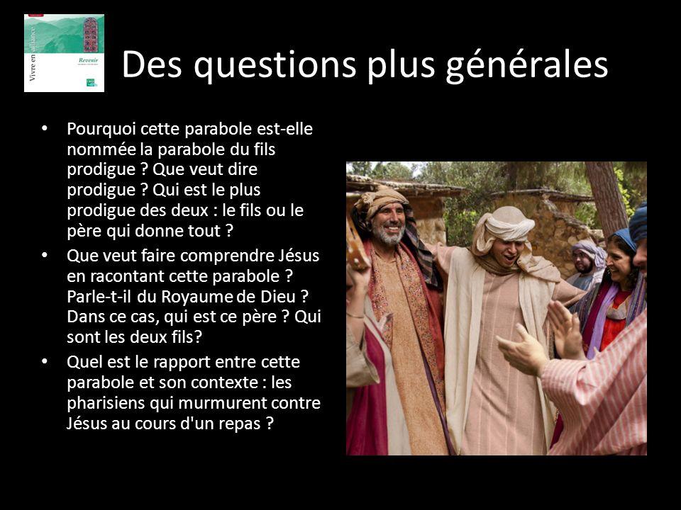 Des questions plus générales Pourquoi cette parabole est-elle nommée la parabole du fils prodigue ? Que veut dire prodigue ? Qui est le plus prodigue