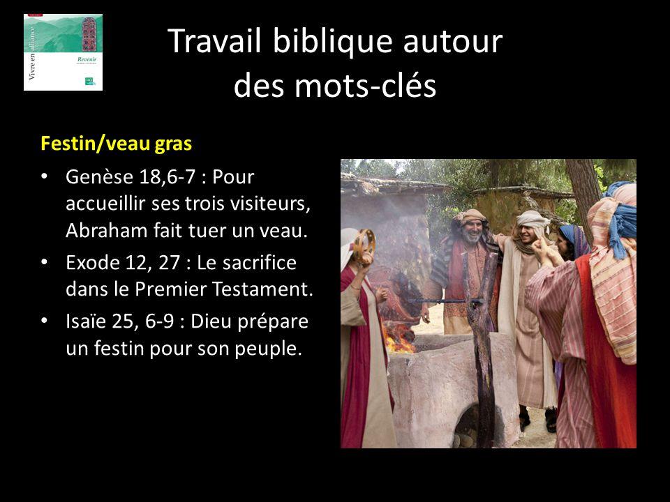 Travail biblique autour des mots-clés Festin/veau gras Genèse 18,6-7 : Pour accueillir ses trois visiteurs, Abraham fait tuer un veau. Exode 12, 27 :