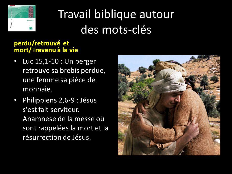 Travail biblique autour des mots-clés perdu/retrouvé et mort/ revenu à la vie Luc 15,1-10 : Un berger retrouve sa brebis perdue, une femme sa pièce de