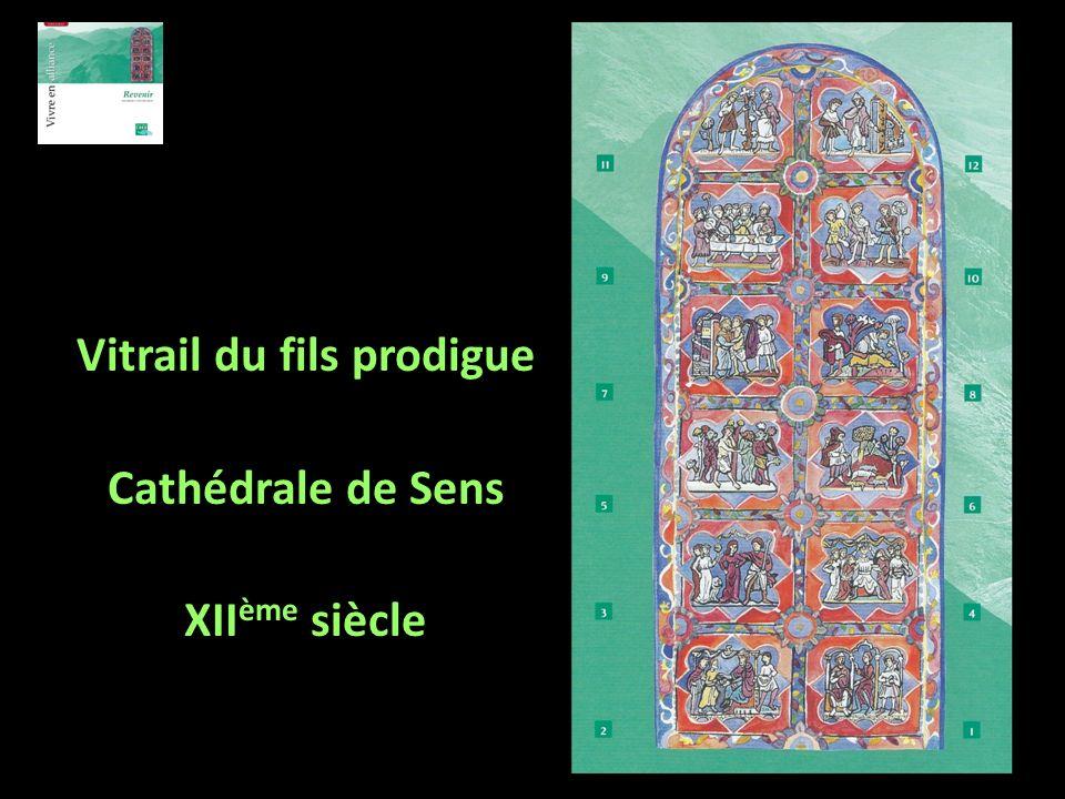Vitrail du fils prodigue Cathédrale de Sens XII ème siècle