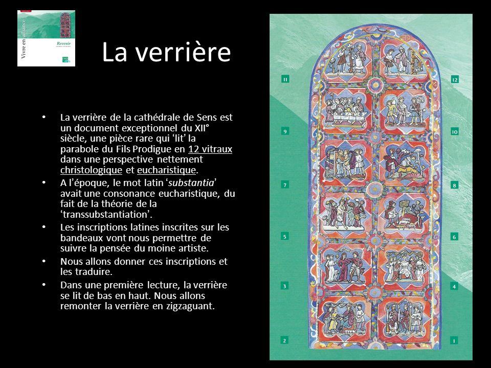 La verrière La verrière de la cathédrale de Sens est un document exceptionnel du XII° siècle, une pièce rare qui lit la parabole du Fils Prodigue en 1