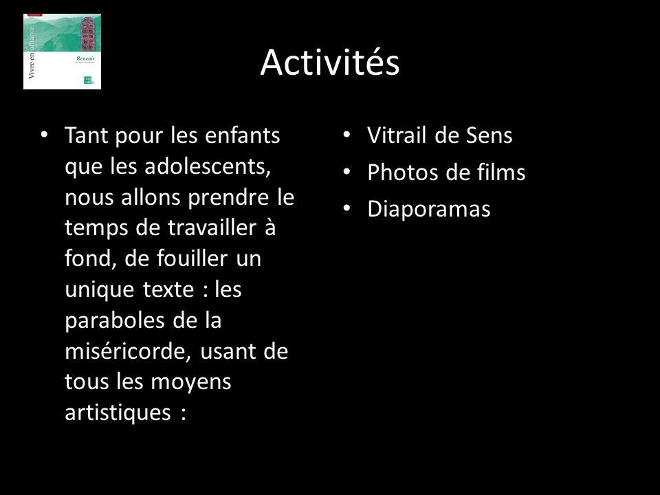 Activités Tant pour les enfants que les adolescents, nous allons prendre le temps de travailler à fond, de fouiller un unique texte : les paraboles de
