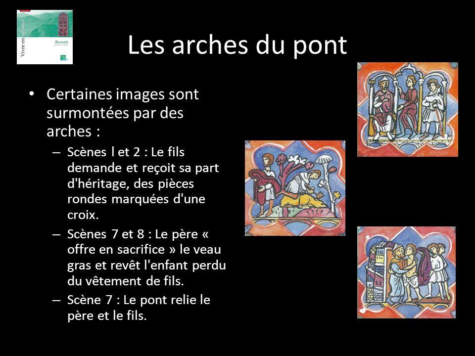 Les arches du pont Certaines images sont surmontées par des arches : – Scènes l et 2 : Le fils demande et reçoit sa part d'héritage, des pièces rondes