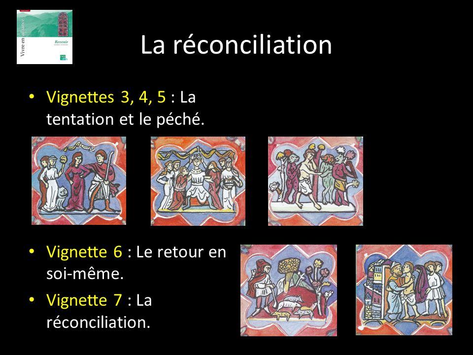 La réconciliation Vignettes 3, 4, 5 : La tentation et le péché. Vignette 6 : Le retour en soi-même. Vignette 7 : La réconciliation.