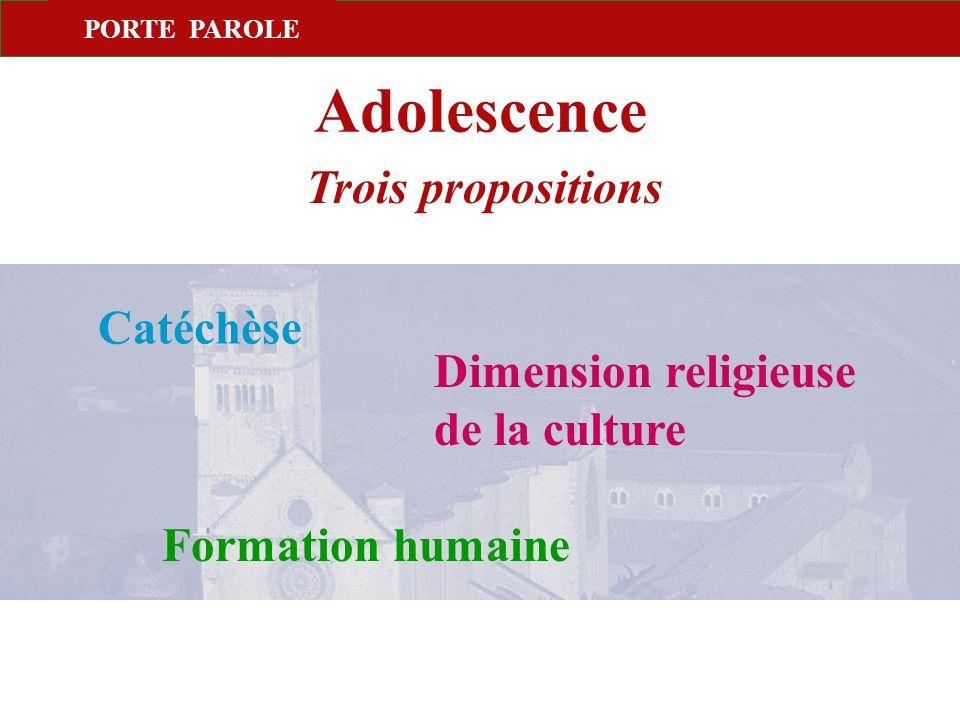 PORTE PAROLE Adolescence Trois propositions Catéchèse Dimension religieuse de la culture Formation humaine