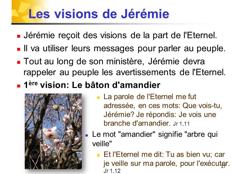 17 Les visions de Jérémie Jérémie reçoit des visions de la part de l'Eternel. Il va utiliser leurs messages pour parler au peuple. Tout au long de son