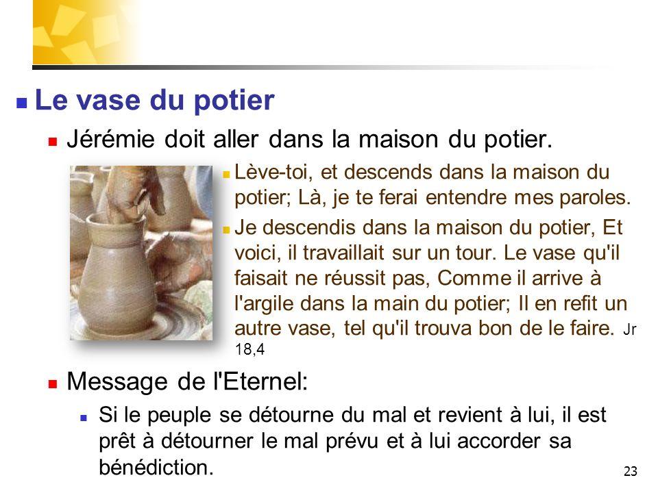 23 Le vase du potier Jérémie doit aller dans la maison du potier. Lève-toi, et descends dans la maison du potier; Là, je te ferai entendre mes paroles