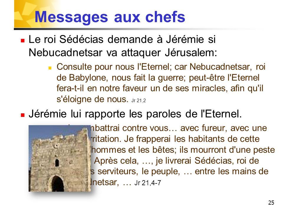 25 Messages aux chefs Le roi Sédécias demande à Jérémie si Nebucadnetsar va attaquer Jérusalem: Consulte pour nous l'Eternel; car Nebucadnetsar, roi d
