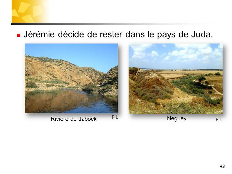 43 Jérémie décide de rester dans le pays de Juda. P L Rivière de Jabock Neguev
