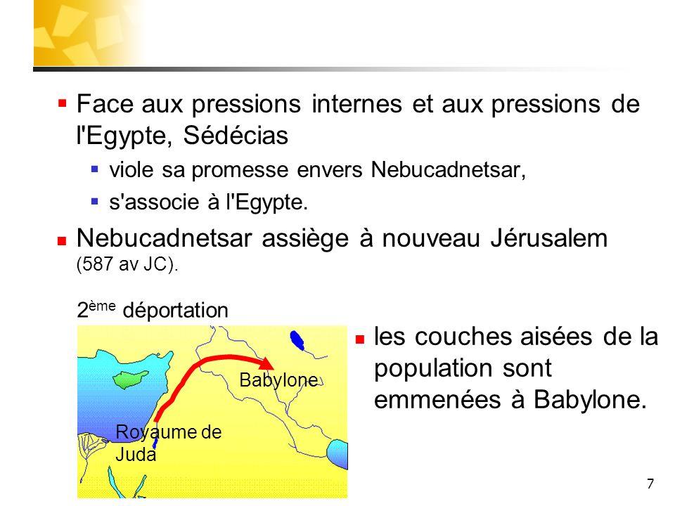 7 Face aux pressions internes et aux pressions de l'Egypte, Sédécias viole sa promesse envers Nebucadnetsar, s'associe à l'Egypte. Nebucadnetsar assiè