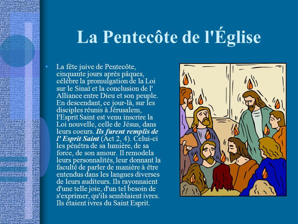 La Pentecôte de l Église La fête juive de Pentecôte, cinquante jours après pâques, célèbre la promulgation de la Loi sur le Sinaï et la conclusion de l Alliance entre Dieu et son peuple.