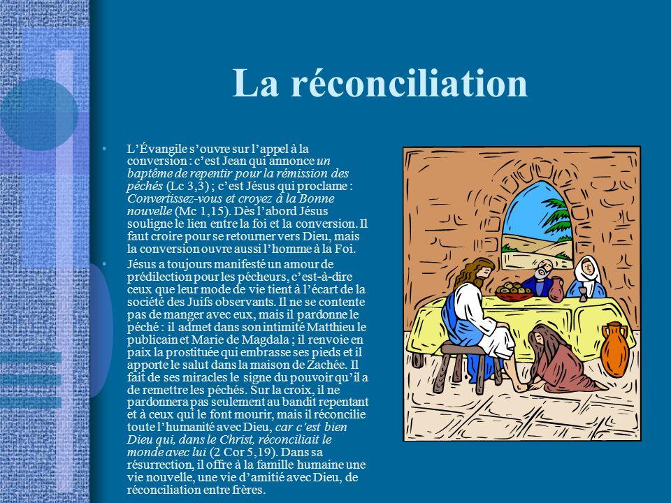 La réconciliation LÉvangile souvre sur lappel à la conversion : cest Jean qui annonce un baptême de repentir pour la rémission des péchés (Lc 3,3) ; cest Jésus qui proclame : Convertissez-vous et croyez à la Bonne nouvelle (Mc 1,15).