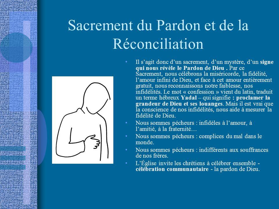 Sacrement du Pardon et de la Réconciliation Il sagit donc dun sacrement, dun mystère, dun signe qui nous révèle le Pardon de Dieu.