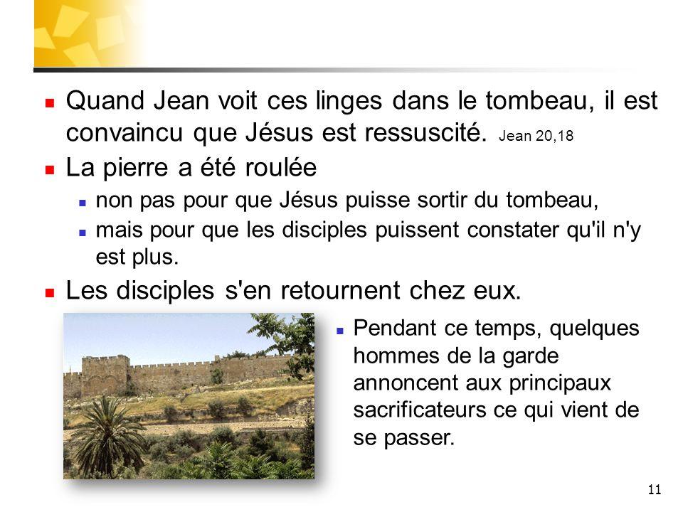 11 Quand Jean voit ces linges dans le tombeau, il est convaincu que Jésus est ressuscité. Jean 20,18 La pierre a été roulée non pas pour que Jésus pui