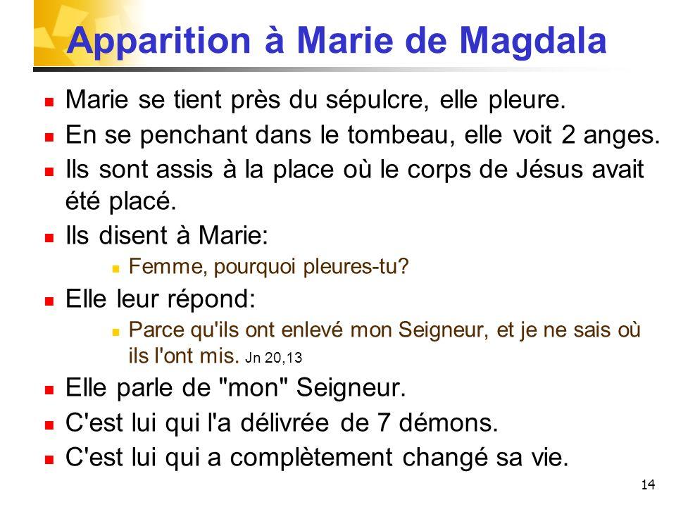 14 Apparition à Marie de Magdala Marie se tient près du sépulcre, elle pleure. En se penchant dans le tombeau, elle voit 2 anges. Ils sont assis à la