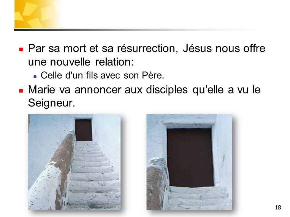 18 Par sa mort et sa résurrection, Jésus nous offre une nouvelle relation: Celle d'un fils avec son Père. Marie va annoncer aux disciples qu'elle a vu