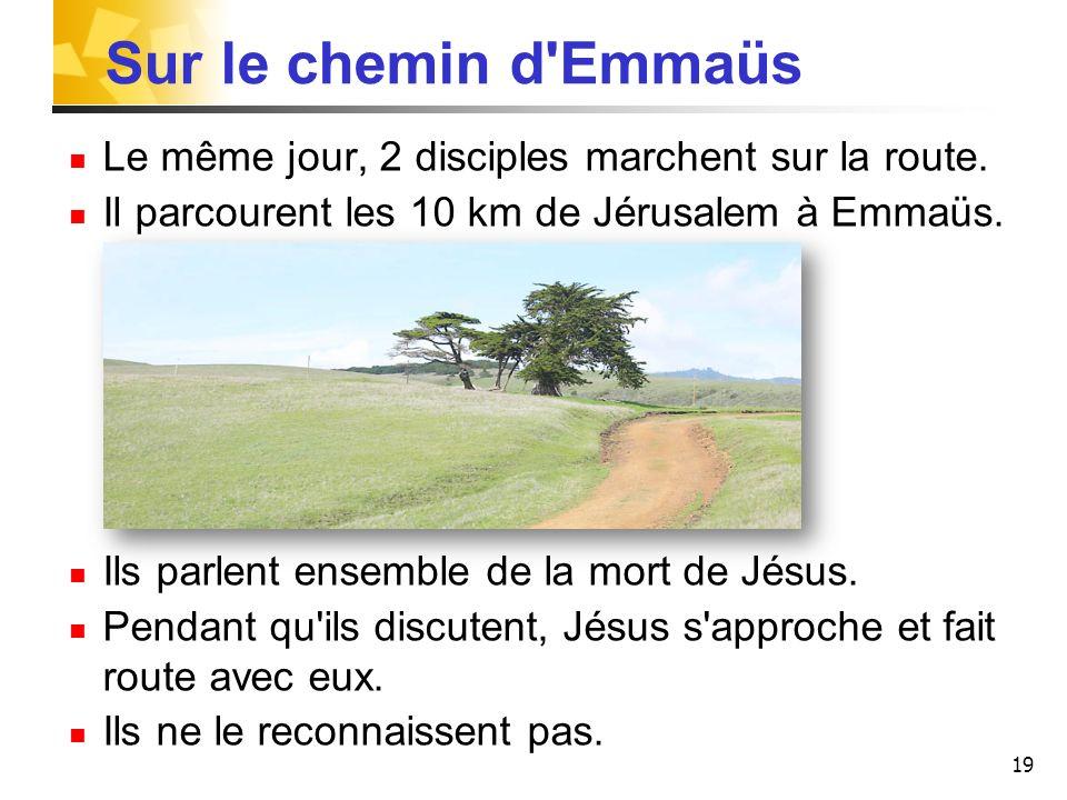 19 Sur le chemin d'Emmaüs Le même jour, 2 disciples marchent sur la route. Il parcourent les 10 km de Jérusalem à Emmaüs. Ils parlent ensemble de la m