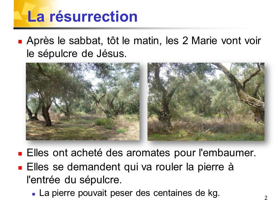 2 La résurrection Après le sabbat, tôt le matin, les 2 Marie vont voir le sépulcre de Jésus. Elles ont acheté des aromates pour l'embaumer. Elles se d