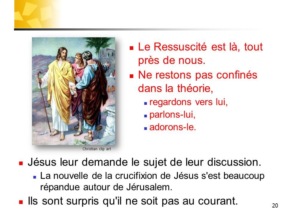 20 Christian clip art Le Ressuscité est là, tout près de nous. Ne restons pas confinés dans la théorie, regardons vers lui, parlons-lui, adorons-le. J