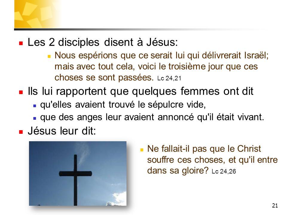 21 Les 2 disciples disent à Jésus: Nous espérions que ce serait lui qui délivrerait Israël; mais avec tout cela, voici le troisième jour que ces chose