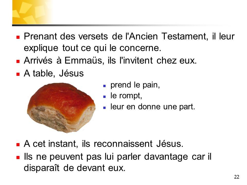 22 Prenant des versets de l'Ancien Testament, il leur explique tout ce qui le concerne. Arrivés à Emmaüs, ils l'invitent chez eux. A table, Jésus pren