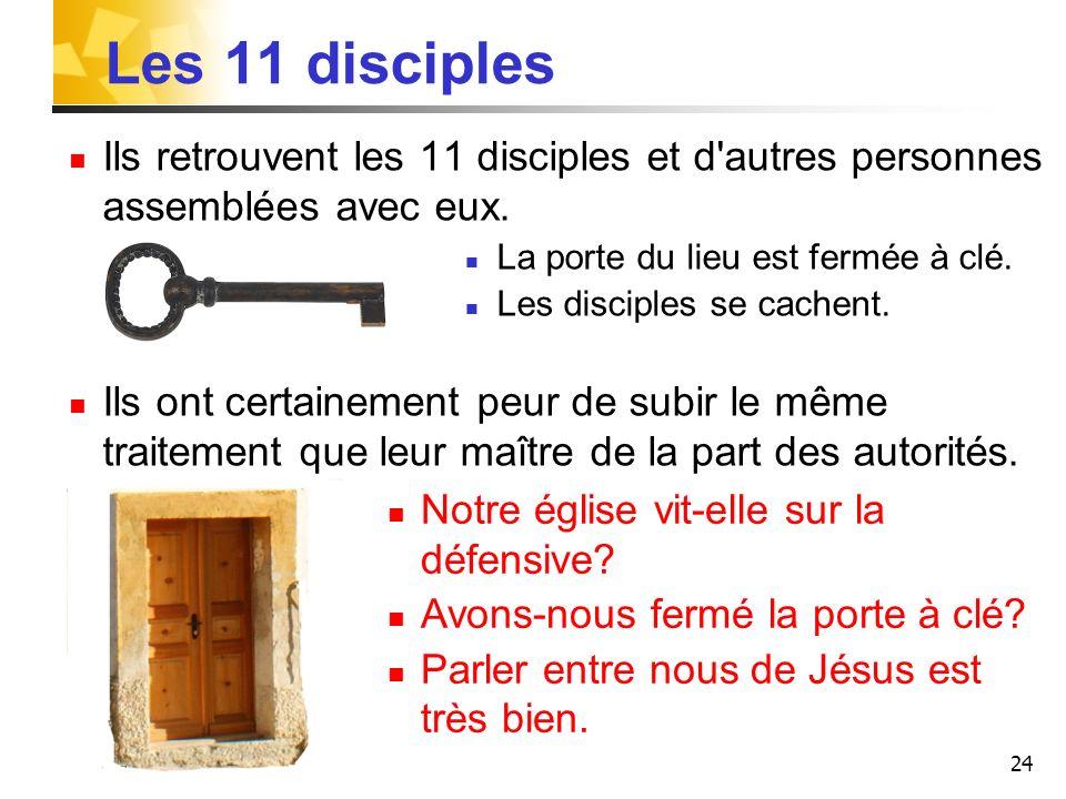 24 Les 11 disciples Ils retrouvent les 11 disciples et d'autres personnes assemblées avec eux. La porte du lieu est fermée à clé. Les disciples se cac