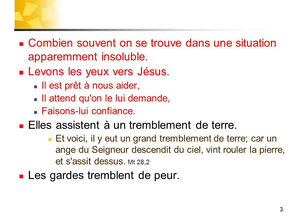 4 Un des anges dit aux femmes: Pour vous, ne craignez pas; car je sais que vous cherchez Jésus qui a été crucifié.