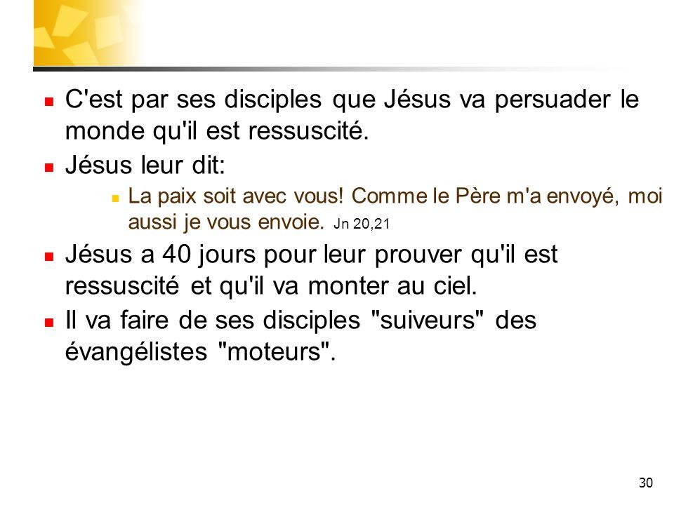30 C'est par ses disciples que Jésus va persuader le monde qu'il est ressuscité. Jésus leur dit: La paix soit avec vous! Comme le Père m'a envoyé, moi