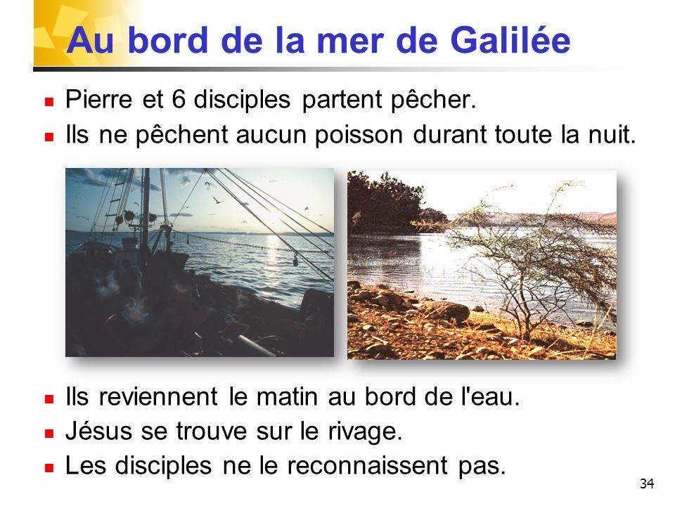 34 Au bord de la mer de Galilée Pierre et 6 disciples partent pêcher. Ils ne pêchent aucun poisson durant toute la nuit. Ils reviennent le matin au bo