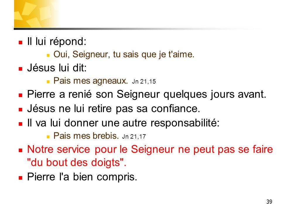 39 Il lui répond: Oui, Seigneur, tu sais que je t'aime. Jésus lui dit: Pais mes agneaux. Jn 21,15 Pierre a renié son Seigneur quelques jours avant. Jé