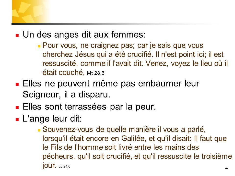 4 Un des anges dit aux femmes: Pour vous, ne craignez pas; car je sais que vous cherchez Jésus qui a été crucifié. Il n'est point ici; il est ressusci